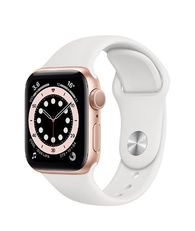 Apple Watch 金色铝金属表壳;运动表带(白色)